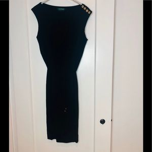 Lauren Ralph Lauren Black Tie Gold Accent Dress